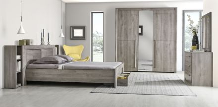 The Eden Expandable Bookcase Headboard Light Grey Oak